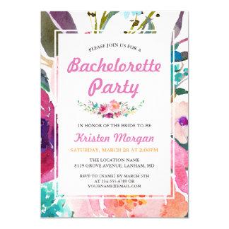 Festa de solteira floral da aguarela cor-de-rosa convite 12.7 x 17.78cm