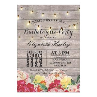 Festa de solteira floral de madeira rústica clara convite 12.7 x 17.78cm