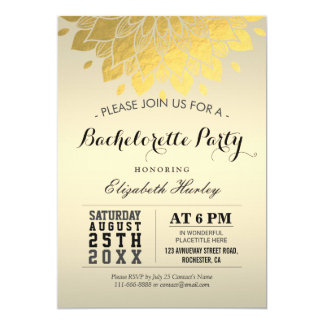 Festa de solteira floral do ouro chique elegante convite 12.7 x 17.78cm