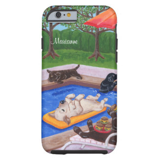 Festa na piscina personalizada Labradors 2 Capa Para iPhone 6 Tough