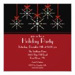 Festa natalícia elegante do ornamento do floco de convite quadrado 13.35 x 13.35cm