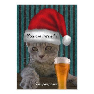Festa natalícia engraçada na moda elegante do gato convite 12.7 x 17.78cm