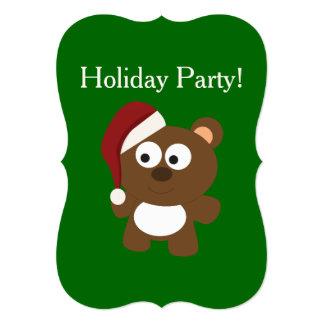 Festa natalícia! Urso do papai noel Convite 12.7 X 17.78cm