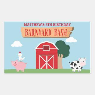 Festança/partido do aniversário do Barnyard Adesivo Retangular