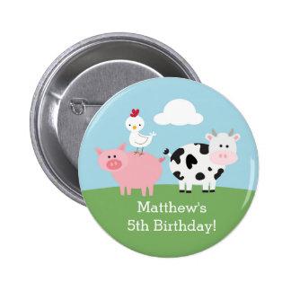 Festança/partido do aniversário do Barnyard Bóton Redondo 5.08cm