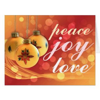 Festivo vermelho do ouro do Feliz Natal do amor da Cartão Comemorativo Grande