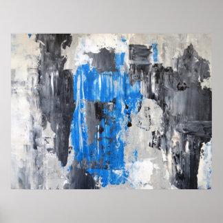 """""""Fez"""" o poster azul e cinzento da arte abstracta"""