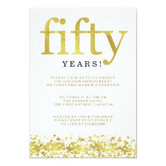 Fiftieth confetes do ouro do falso do aniversário convite 12.7 x 17.78cm