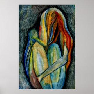 Figura abstrata pintado mão belas artes da pôster