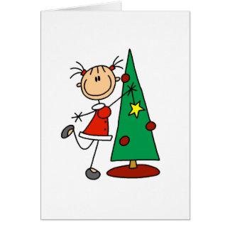 Figura árvore da vara do feriado cartão comemorativo