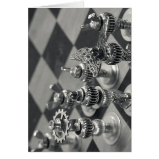Figura de prata partes da xadrez de Steampunk Cartão Comemorativo