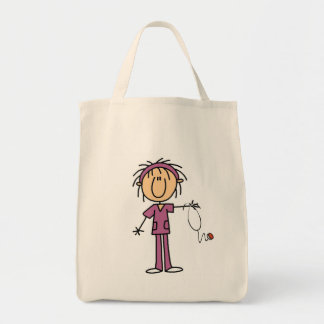 Figura fêmea branca t-shirt e presente da vara da  bolsas de lona