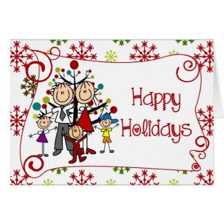 Figura feriado da vara do Natal da família Cartão Comemorativo