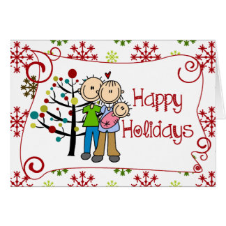 Figura feriado da vara do Natal do bebé da família Cartão Comemorativo