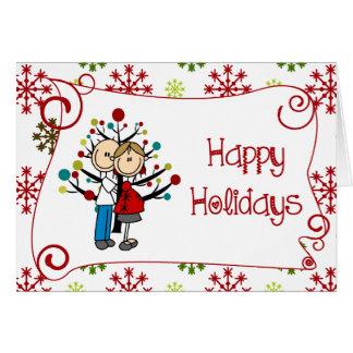 Figura feriado expectante da vara do Natal do Cartão Comemorativo