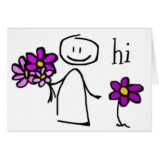 Figura flores olá! Notecard da vara Cartão Comemorativo