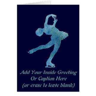 Figura patinador azul legal cartão comemorativo