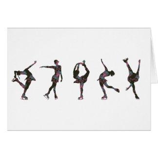 Figura patinadores, rosa, teste padrão cinzento cartão comemorativo