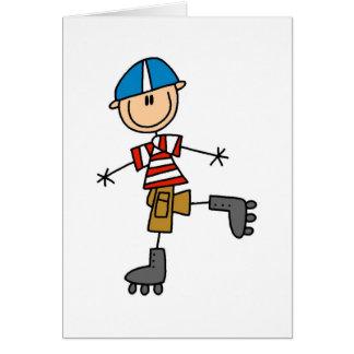 Figura patinagem da vara de rolo cartão comemorativo