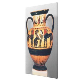 Figura preta amphora de Chalcidian que descreve um Impressão De Canvas Esticada