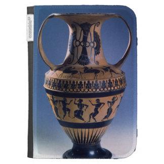 Figura preta amphora do sótão que descreve os danç