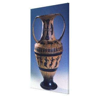 Figura preta amphora do sótão que descreve os danç impressão em tela canvas