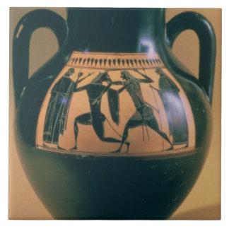 Figura preta amphora do sótão que descreve Theseus Azulejo De Cerâmica