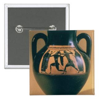 Figura preta amphora do sótão que descreve Theseus Bóton Quadrado 5.08cm