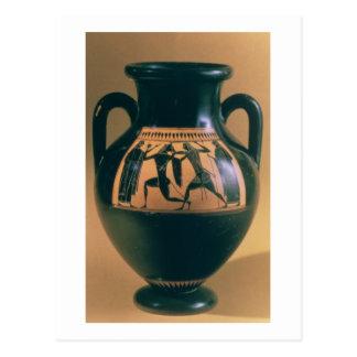 Figura preta amphora do sótão que descreve Theseus Cartão Postal
