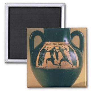 Figura preta amphora do sótão que descreve Theseus Ímã Quadrado