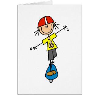 Figura skater da vara cartão comemorativo