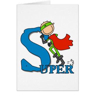 Figura super herói da vara cartão comemorativo