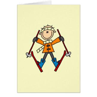 Figura t-shirt e presentes da vara do esquiador cartão