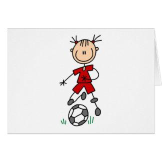 Figura uniforme da vara da menina do vermelho do cartão comemorativo
