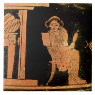 Figura vermelha estojo do sótão que descreve uma n azulejos de cerâmica