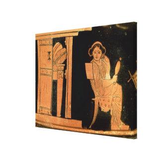 Figura vermelha estojo do sótão que descreve uma n impressão em canvas