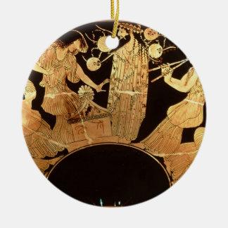 Figura vermelha kylix do sótão que descreve ornamento de cerâmica redondo