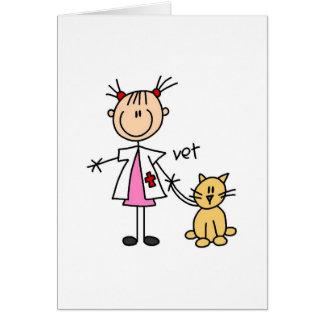 Figura veterinária da vara cartão comemorativo