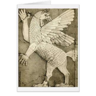 Figura voada mitológica cartão comemorativo