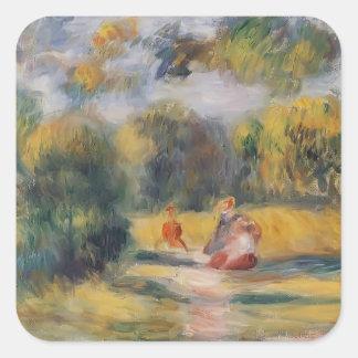 Figuras de Pierre-Auguste Renoir- em uma paisagem Adesivo Em Forma Quadrada