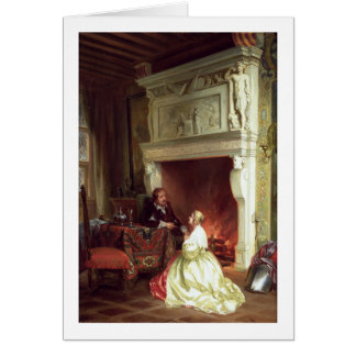 Figuras em um interior (óleo no painel) cartão comemorativo
