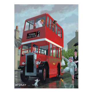 fila do paragem do autocarro dos desenhos animados cartoes postais