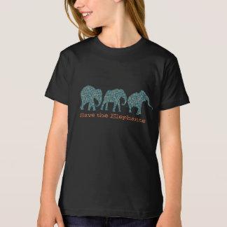 Fileira de elefantes de Paisley no t-shirt preto