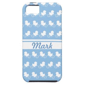 fileira dos patos brancos na case mate azul do iPh Capa De iPhone 5 Case-Mate
