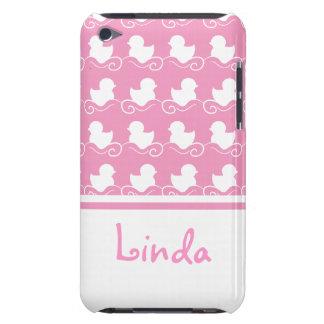 fileira dos patos brancos na case mate cor-de-rosa capa iPod barely there