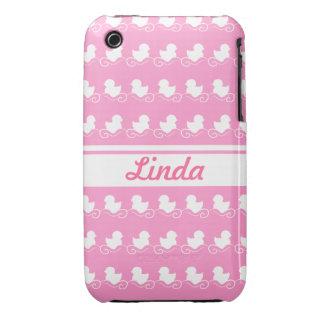 fileira dos patos brancos no iPhone cor-de-rosa Capa Para iPhone 3