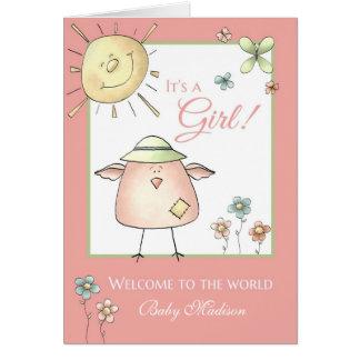 Filha bem-vinda - felicitações conhecidas feitas cartão comemorativo