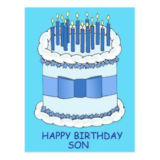 Filho do feliz aniversario, velas azuis no bolo cartão postal