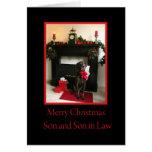 filho e cartão do Feliz Natal do genro