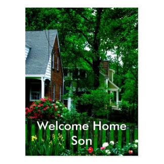 filho home bem-vindo cartão postal